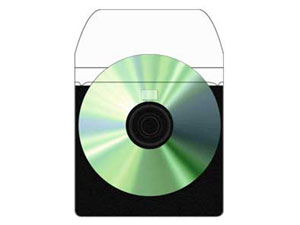 Print File Adhesive Back CD Pockets w/ Black Non-Woven Back (10)