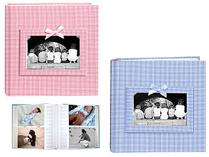 Pioneer DA-200GFRB Gingham Fabric Baby Photo Album