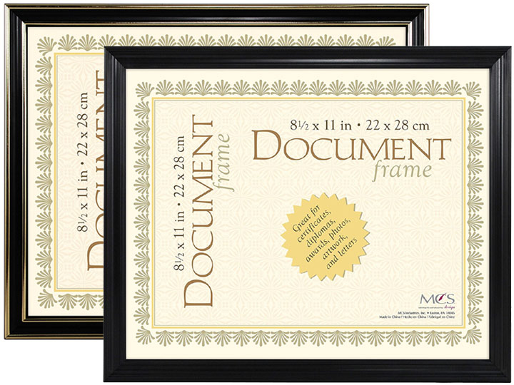MCS Economy Document Frame 8.5x11 - Black w/Gold