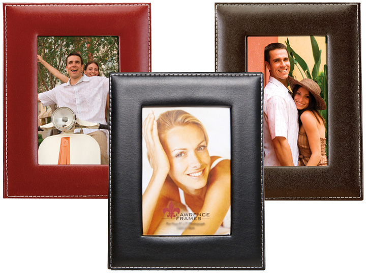 Lawrence Stitched Bonded Leather Frame - 8x10 Black