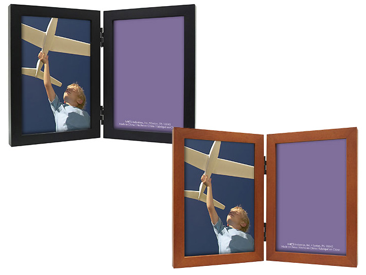 MCS Linear Black Wood Double Picture Frame For 5x7
