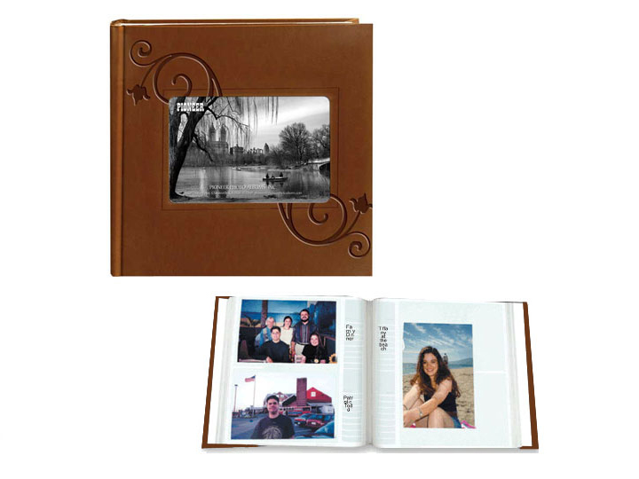 Pioneer Embossed Floral Frame Leatherette 4x6 Photo Album - Black