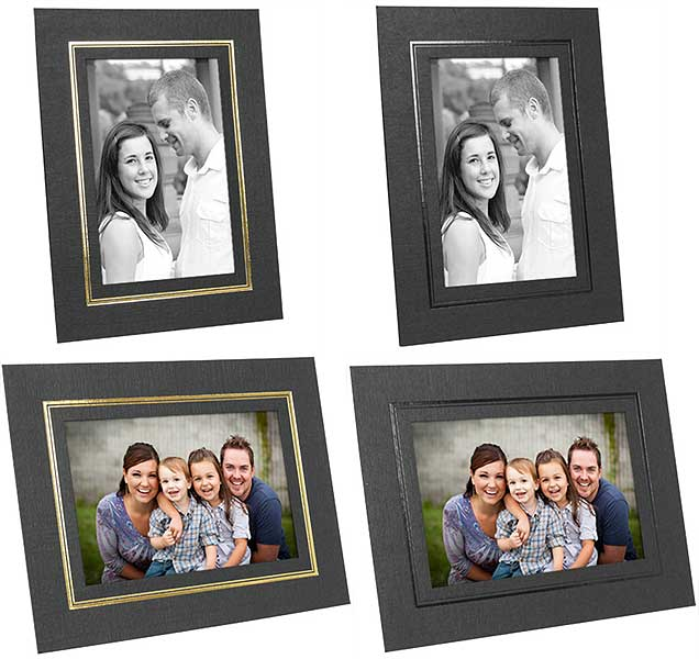 Cardboard Picture Frames 4x5 Black w/Gold Foil Border (25 Pack)