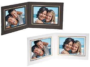 Double View Folder w/Foil Border 7x5 Horizontal (25 Pack)