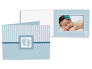 Blue Baby Footprint 4x6 Horizontal Photo Folders (25 Pack)