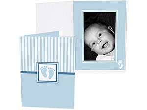 Blue Baby Footprint 4x6 Vertical Photo Folders (25 Pack)