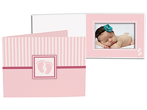 Pink Baby Footprint 5x7 Horizontal Folders (25 Pack)