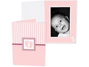 Pink Baby Footprint 4x6 Vertical Folders (25 Pack)