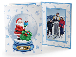 Santa Snowglobe Photo Folders For 4x6 (25 Pack)