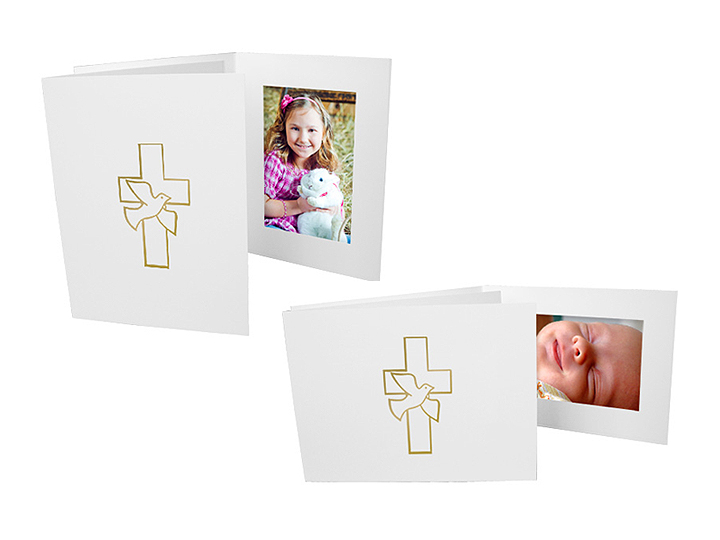 Dove and Cross Photo Folders For 4x6 (25 Pack) - Vertical