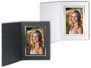Cardboard Photo Folders w/Foil Border 6x8 Vertical (25 Pack)