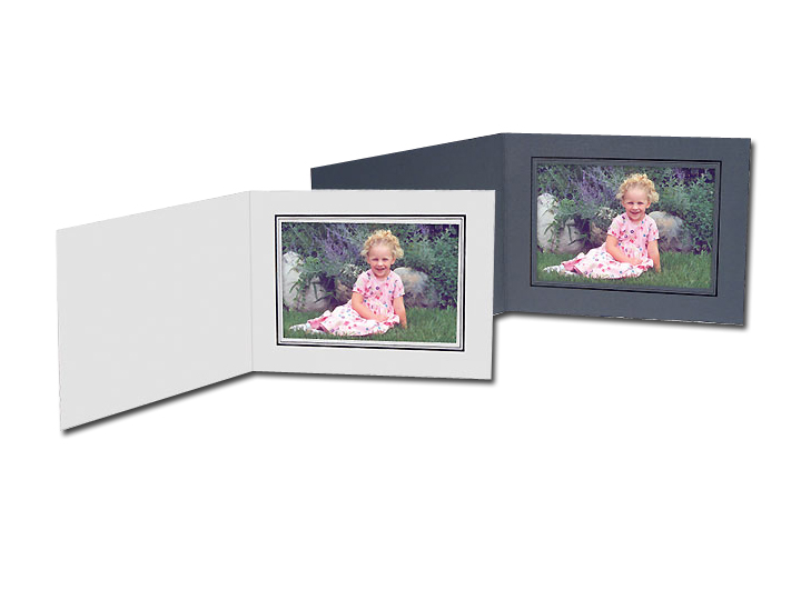 Cardboard Photo Folders White w/Gold Foil 6x4 Horizontal (25 Pack)