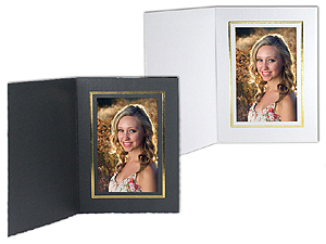 Cardboard Photo Folders w/Foil Border 4x5 Vertical (25 Pack)