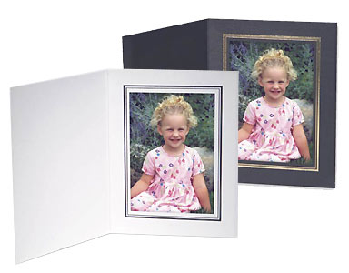 Cardboard Photo Folders White w/Black Foil 4x6 Vertical (25 Pack)