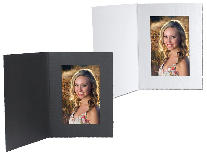 Cardboard Photo Folders 5x7 White Vertical (25 Pack)